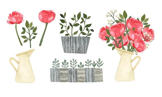 Acquerello bouquet di fiori impostare elementi isolati