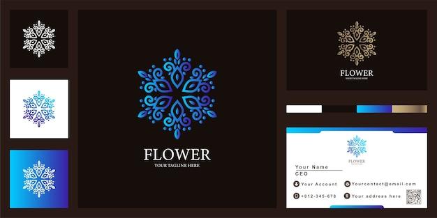 Fiore, boutique o ornamento di lusso logo modello di progettazione con biglietto da visita.