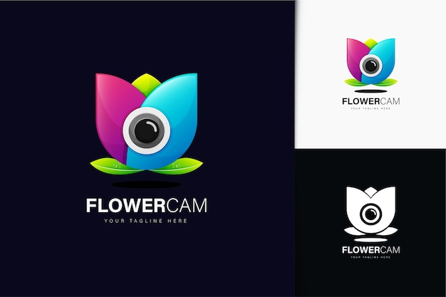 Design del logo della fotocamera a fiore con sfumatura