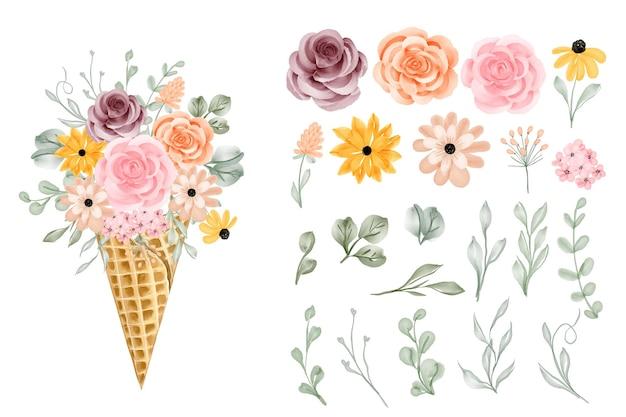 Cono di fiori con rosa e foglie clipart isolato