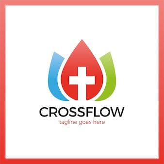 Logo della croce della corona di fiori Vettore Premium