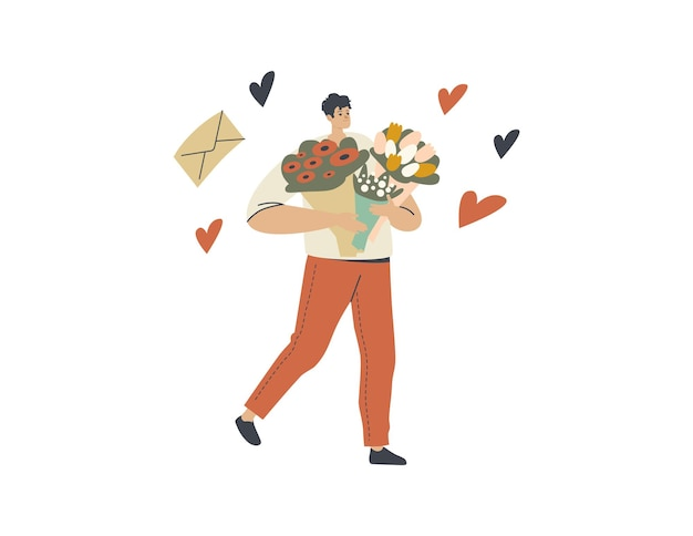 Il personaggio maschile del corriere per la consegna dei fiori porta bellissimi mazzi di fiori che portano ai clienti