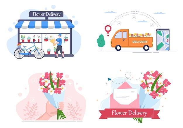Servizio di consegna di fiori business online con corriere che tiene un mazzo di ordini di fiori utilizzando camion, auto o moto. illustrazione vettoriale di sfondo