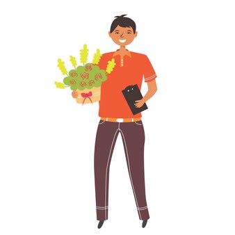 Consegna fiori con bouquet