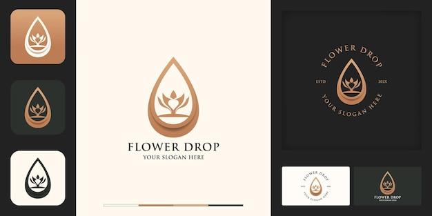 Design del logo e biglietto da visita con goccia di fiori o olio di bellezza