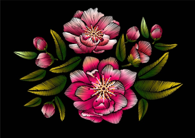 Ricamo floreale con fiori di ciliegio