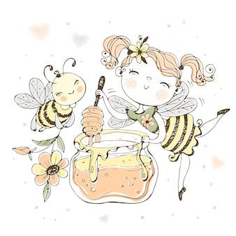 Fata dei fiori con un vaso di miele e un'ape allegra.