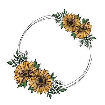 Cornice floreale doppio rotondo stile di disegno botanico bordo cerchio floreale.