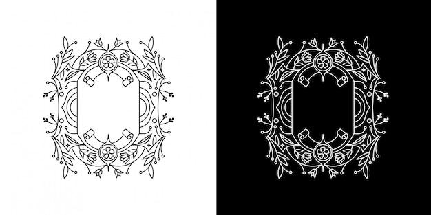 Distintivo monoline con cornice floreale