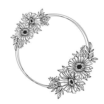 Cornice floreale contorno doppio round.stile di disegno botanico bordo cerchio floreale.