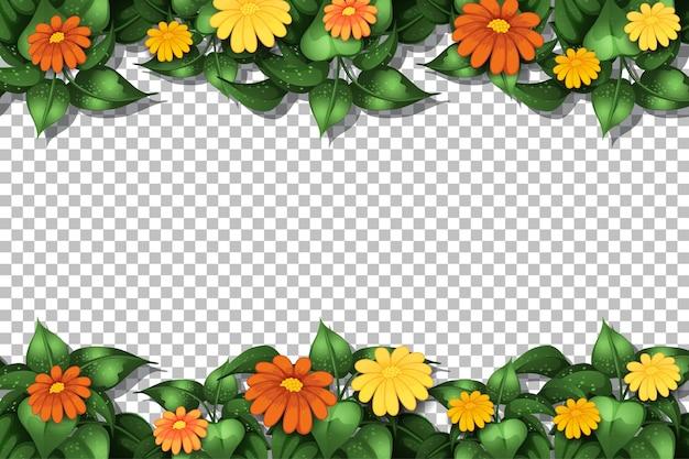 Modello di cornice floreale su trasparente