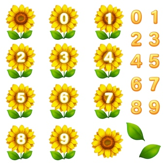 Kit gui modello gioco di fiori. numero di interfaccia per creare giochi e app web e mobili