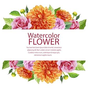 Dalia e rosa dell'acquerello del giardino fiorito