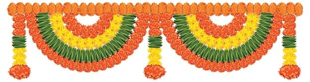 Vettore ghirlanda di fiori deve essere legato alla porta o all'ingresso di casa il diwali o qualsiasi festa religiosa