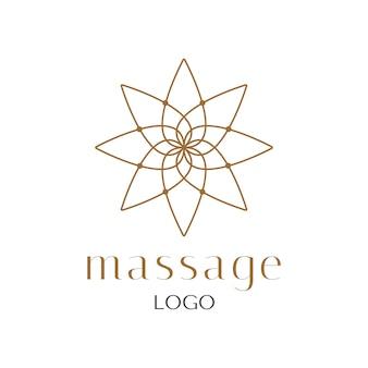 Fiore d'oro loto logo lusso disegno vettoriale. logo di massaggi e spa