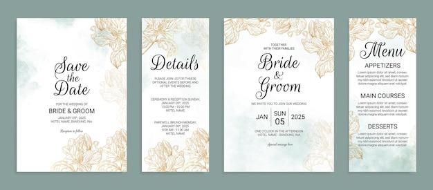 Modello di biglietto d'invito per matrimonio in oro fiore con decorazione di foglie ad acquerello
