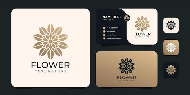Logo di contorno sfumato fiore