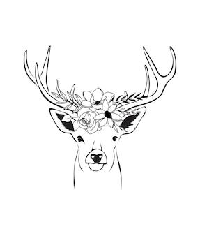 Illustrazione disegnata a mano di cervo testa di fiore