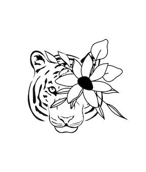 Ritratto floreale della tigre dell'illustrazione disegnata a mano della tigre della testa di fiore