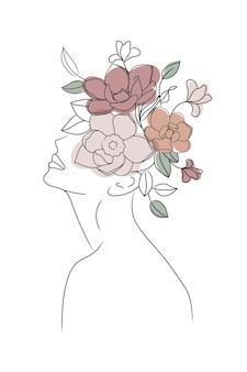 Ritratto di donna testa di fiore