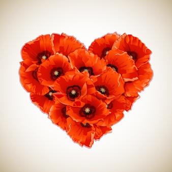 Cuore di fiori di papaveri rossi. Vettore Premium