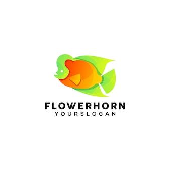 Modello di progettazione del logo colorato corno di fiori