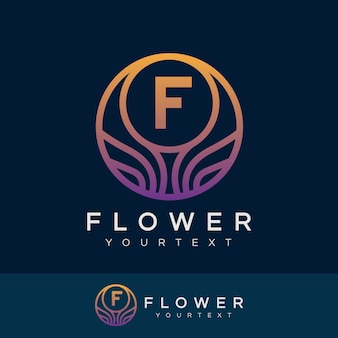 Fiore iniziale lettera f logo design