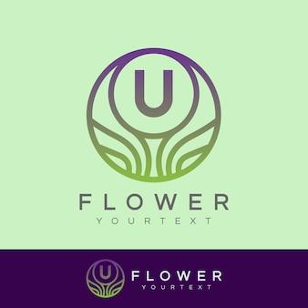 Fiore iniziale lettera u logo design