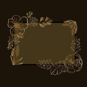 Illustrazione botanica disegnata a mano con cornice di fiori e foglie con line art