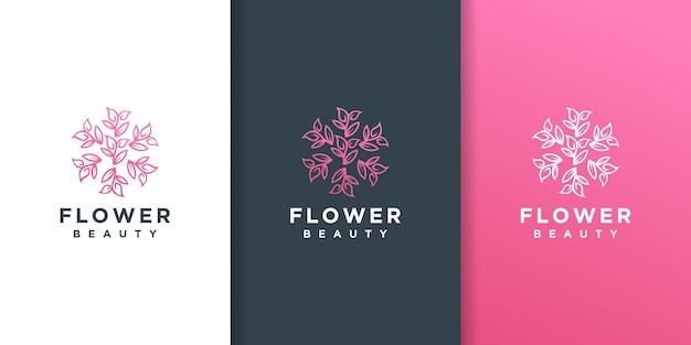 Fiore foglia linea arte stile logo design