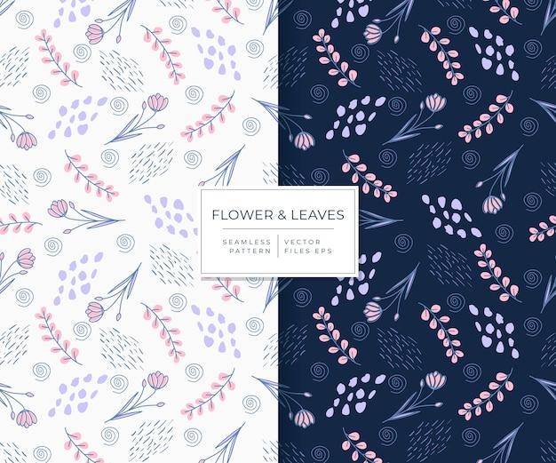 Fiore e foglie belli con reticolo senza giunte di stile disegnato a mano