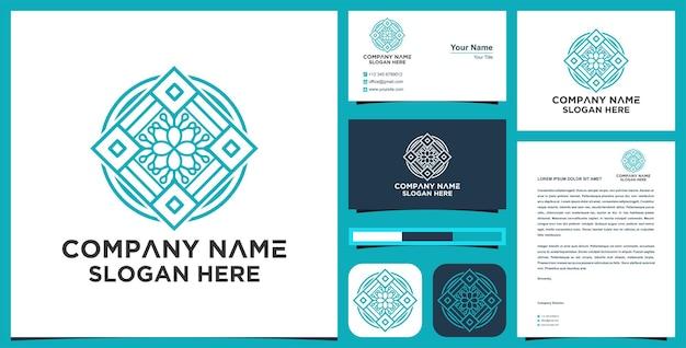 Fiore line art logo mandala e design del biglietto da visita vettore premium