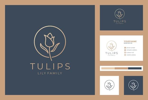 Stile lineare del marchio del logo del fiore.
