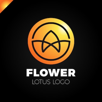 Modello di vettore di logo cerchio astratto disegno del fiore. icona lotus spa. cosmetici hotel garden salone di bellezza concetto di logo.