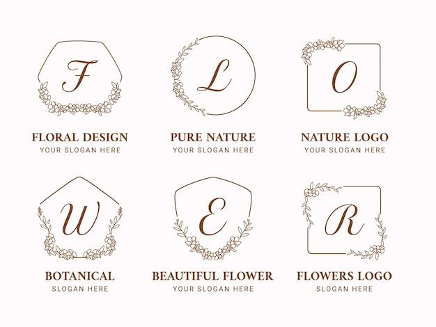 Collezione di loghi floreali per il matrimonio