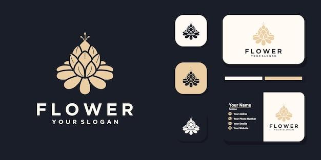 Logo floreale, logo cosmetico, yoga, salone di bellezza, riferimento logo per le imprese
