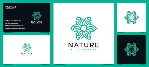 Fiore logo design ispirazione per la cura della pelle, yoga, cosmetici, saloni e spa, con concetto di linea e biglietto da visita