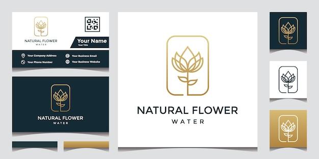 Disegno di marchio del fiore con elegante biglietto da visita