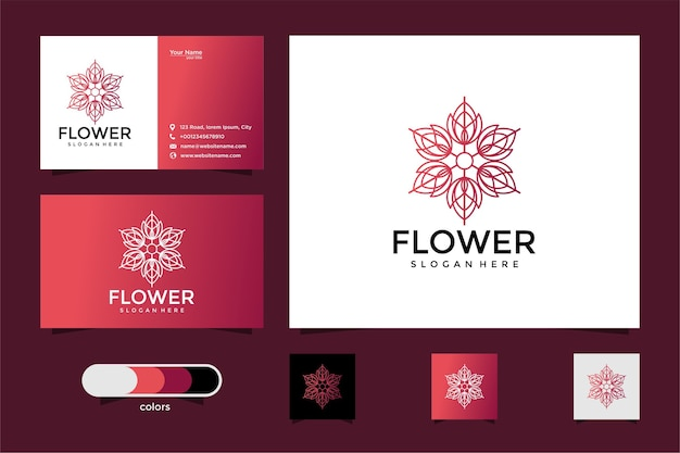 Design del logo del fiore con stile art line. logo e biglietto da visita