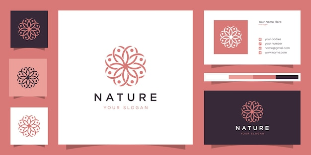 Design del logo del fiore con stile art line. il logo può essere utilizzato per spa, salone di bellezza, decorazione,
