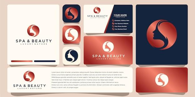Design del logo del fiore con stile art line. i loghi possono essere utilizzati per la boutique della decorazione del salone di bellezza spa. e biglietto da visita