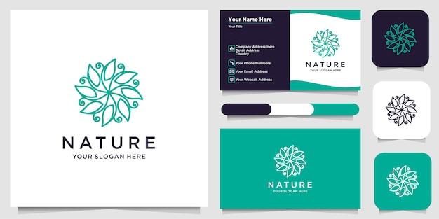 Design del logo del fiore con stile art line. i loghi possono essere utilizzati per spa, salone di bellezza, decorazione, boutique. e biglietto da visita