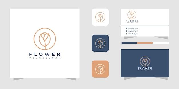 Design del logo del fiore con stile art line.