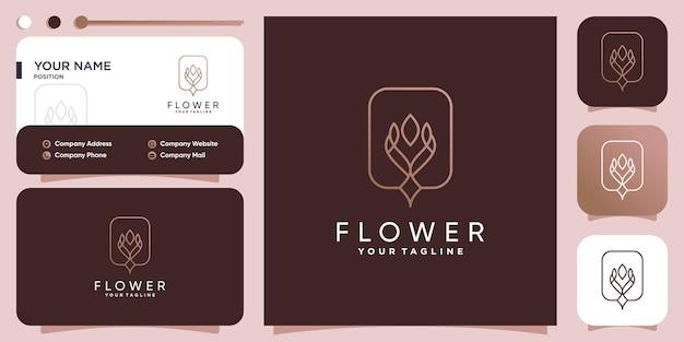 Illustrazione del logo del fiore con il concetto astratto creativo vettore premium