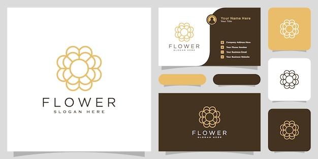Stile della linea di disegno vettoriale del logo del fiore e biglietto da visita