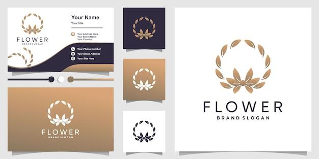 Logo del fiore con un concetto fresco e creativo e un modello di progettazione del biglietto da visita vettore premium