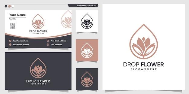 Logo del fiore con stile art drop line e modello di progettazione di biglietti da visita