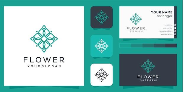 Logo del fiore con stile art line e biglietto da visita