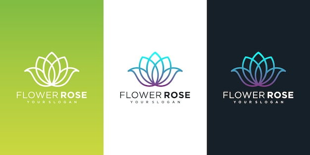 Logo del fiore con stile art line