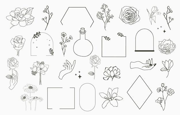 Logo floreale con rosa, magnolia